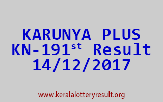 KARUNYA PLUS Lottery KN 191 Results 14-12-2017