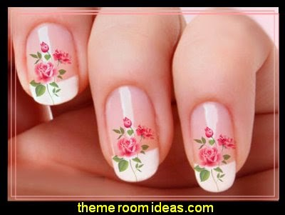English Pink Roses Nail Art Water Transfers Decals