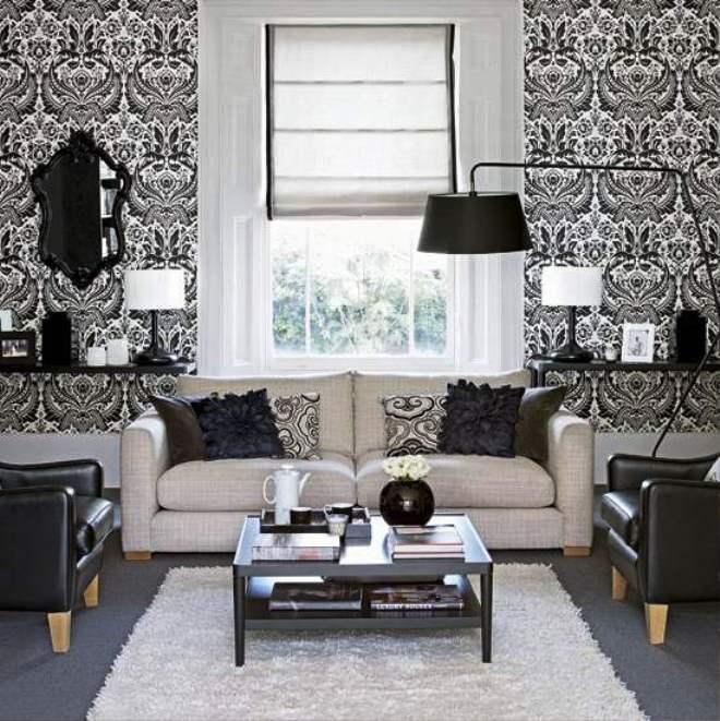 Wallpaper Dinding Ruang Tamu Motif Hitam Putih Cantik Modern