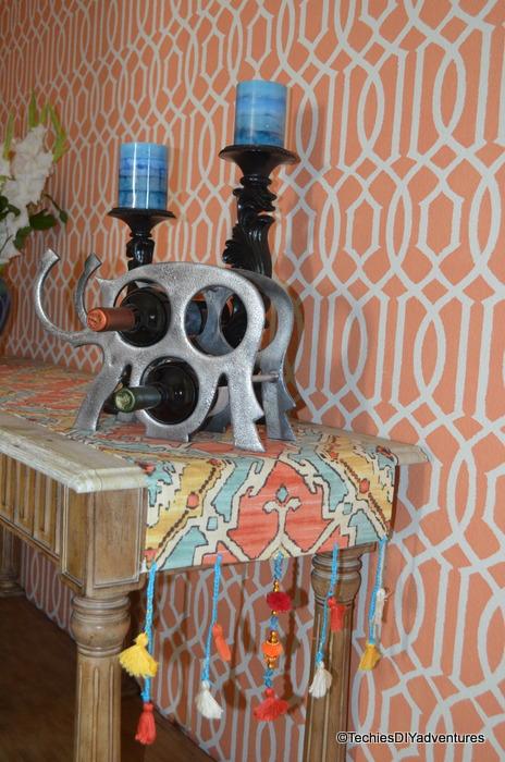 orange and Aqua Table Runner