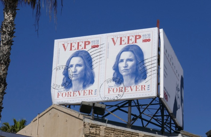 Veep season 7 Forever stamps billboard