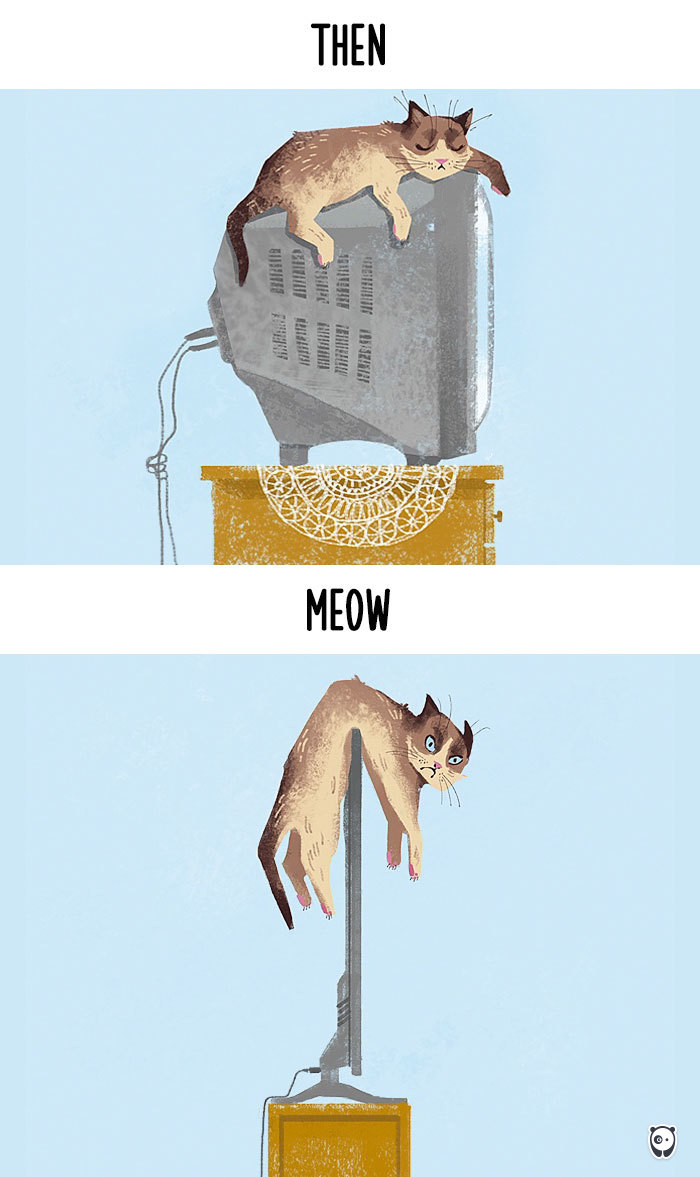 Then vs Meow How Technology Has Changed Cats' Lives (10+ Pics) - Sitting On Tv