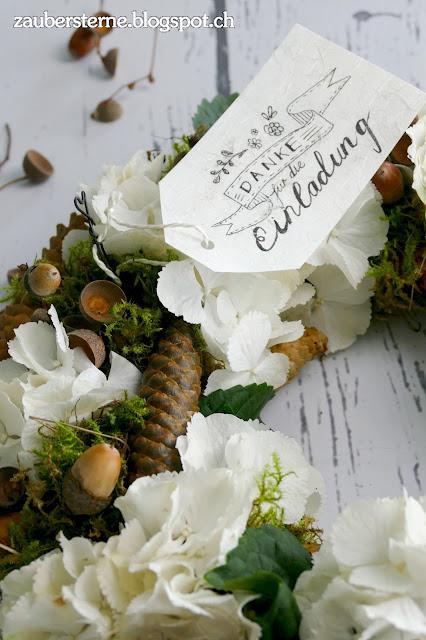Danke für die Einladung, DIY Kranz, Lettering Danke, Kreativblog Schweiz, Blog Schweiz