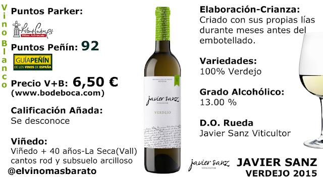 comprar javier sanz verdejo 2015 92 puntos peñín por 6,50 euros