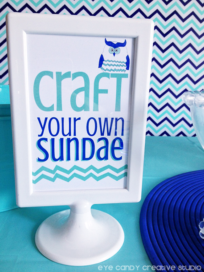 birthday signs, IKEA frame, owl, chevron, craft your own sundae sign