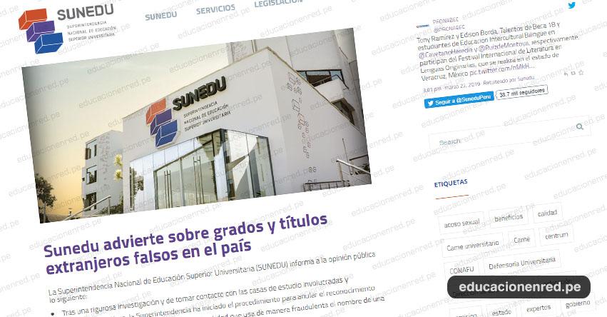 COMUNICADO SUNEDU: Advierten sobre grados y títulos extranjeros falsos en el país - www.sunedu.gob.pe
