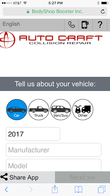 Mobile screen shot of Auto Craft's online estimate tool for auto body work