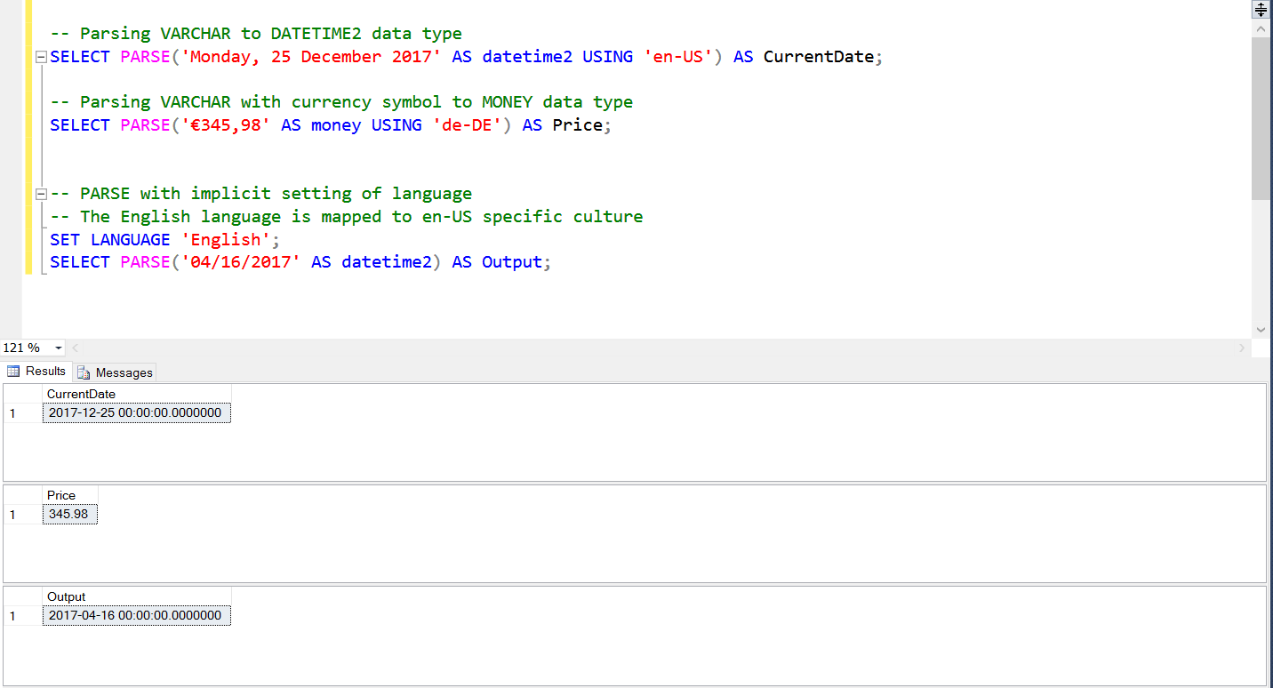 Difference between CAST, CONVERT, and PARSE function in Microsoft