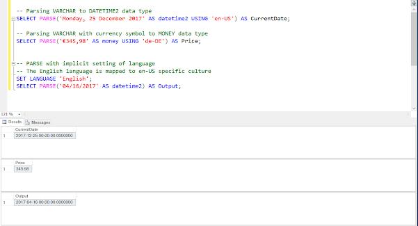 CAST vs CONVERT vs PARSE in SQL Server