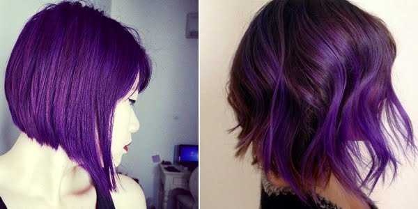 Rock Your Bob With Deep Purple Colors