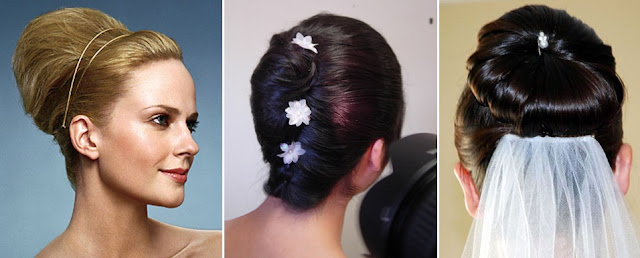 1. Beehive updo 2. French twist updo 3. Classic Bridal Bun