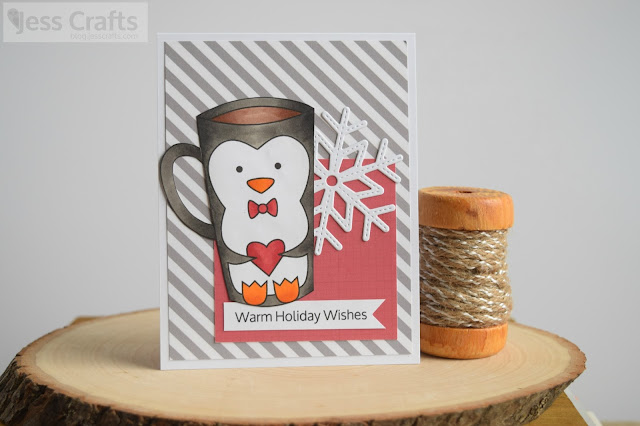 Holiday Card with Penguin Coffee Cup featuring Jess Crafts Digitals