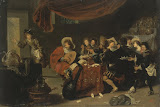 Merry Company by Simon de Vos - Genre Paintings from Hermitage Museum