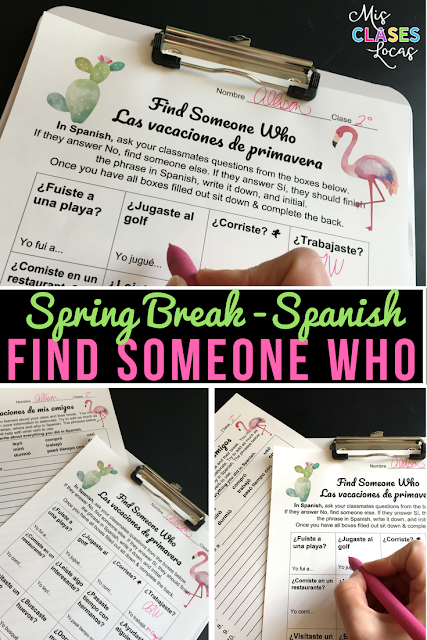 No prep speaking activity for the day after Spring Break in Spanish class