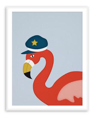 Sailor Flamingo - Nautical Nursery Wall Art