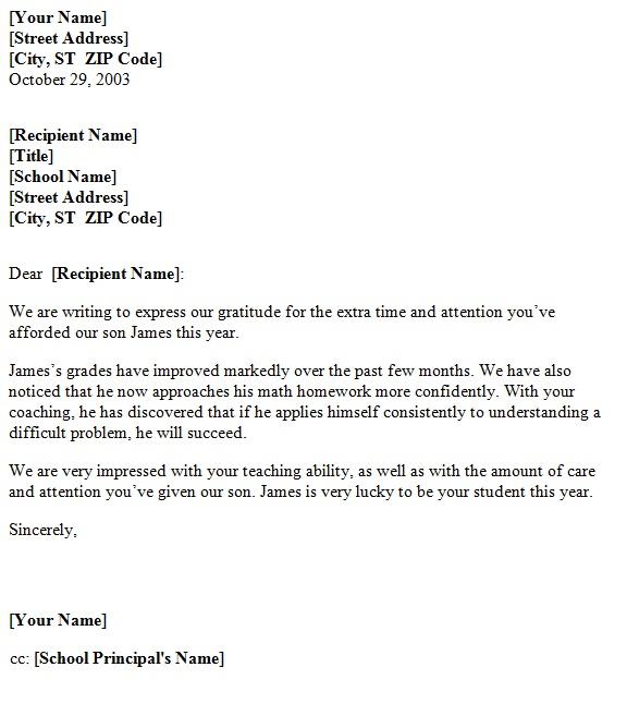 Free Teacher Appreciation Letter Sample