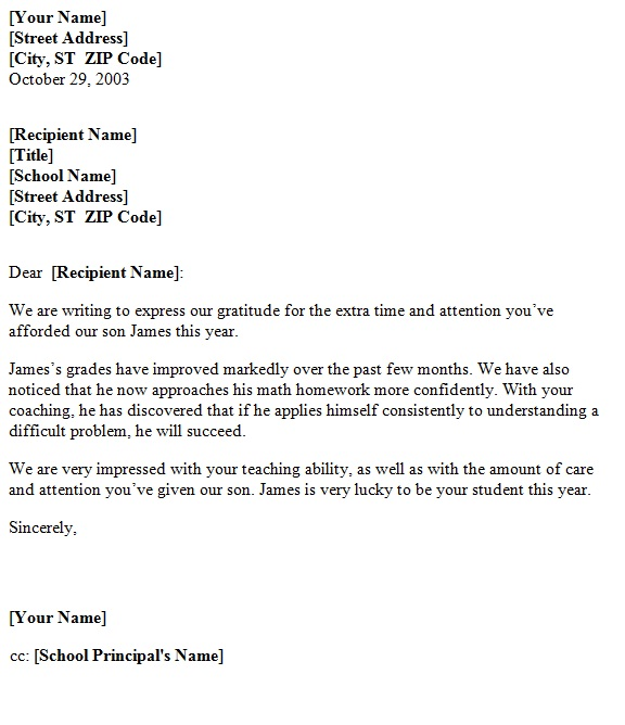 Teacher Appreciation Letter Sample: Letter Of Application: Letter Of Teacher Recognition