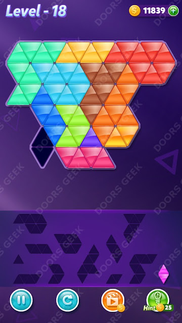 Block! Triangle Puzzle Champion Level 18 Solution, Cheats, Walkthrough for Android, iPhone, iPad and iPod