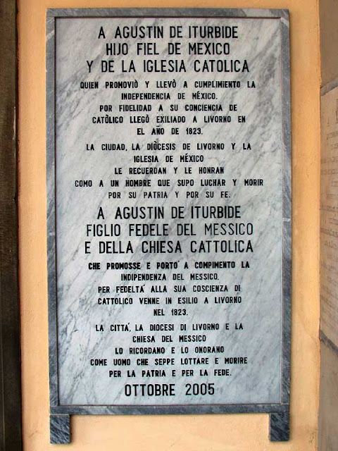 Plaque remembering Agustín de Iturbide, Sanctuary of Montenero, Livorno