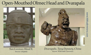 An Olmec stone head and Dvarapala (door-guardian) with an open mouth