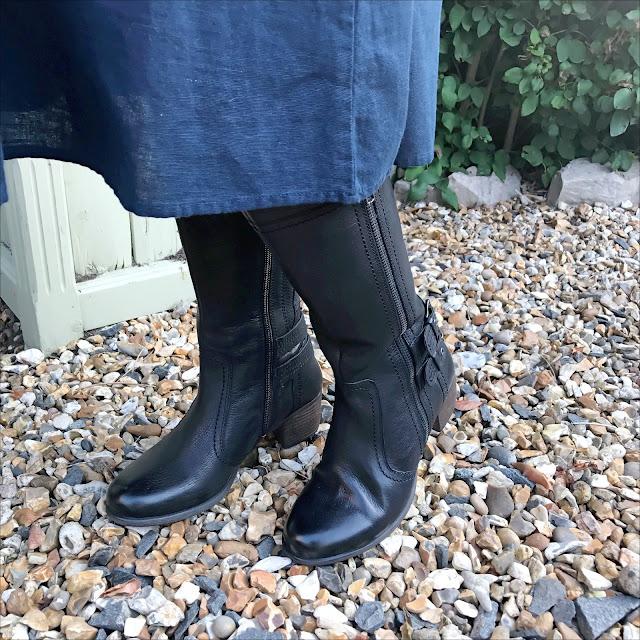 My Midlife fashion, lotus shoes yukka black leather knee high boots