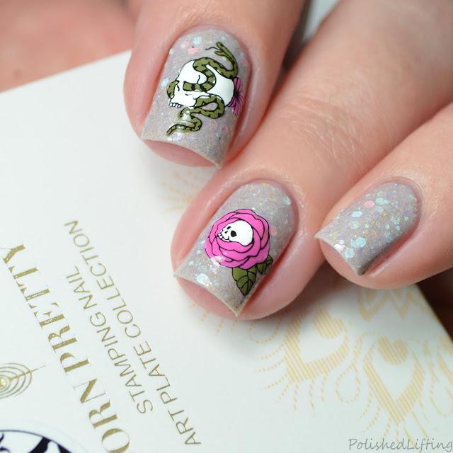 pastel skull nail art