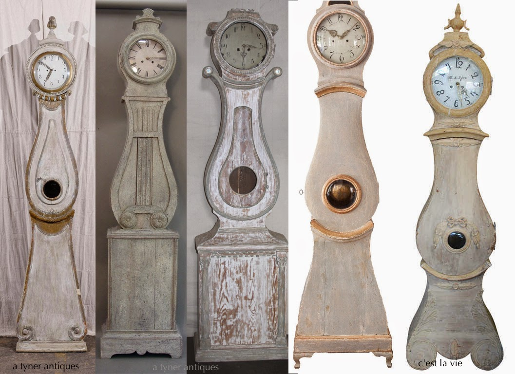 Antique Swedish Mora Clocks in white and grey