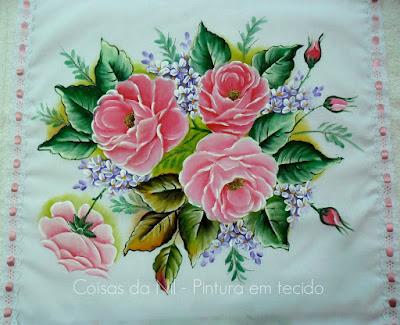 pintura tecido rosas cor de rosa