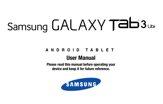Samsung Galaxy Tab 3 Lite 7 Manual Cover
