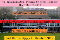 All India Institute of Medical Sciences Rishikesh Recruitment 2017– 305 Lower Division Clerk, Lab Attendant