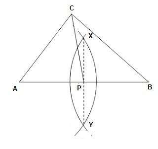 Langkah langkah melukis garis berat pada segitiga