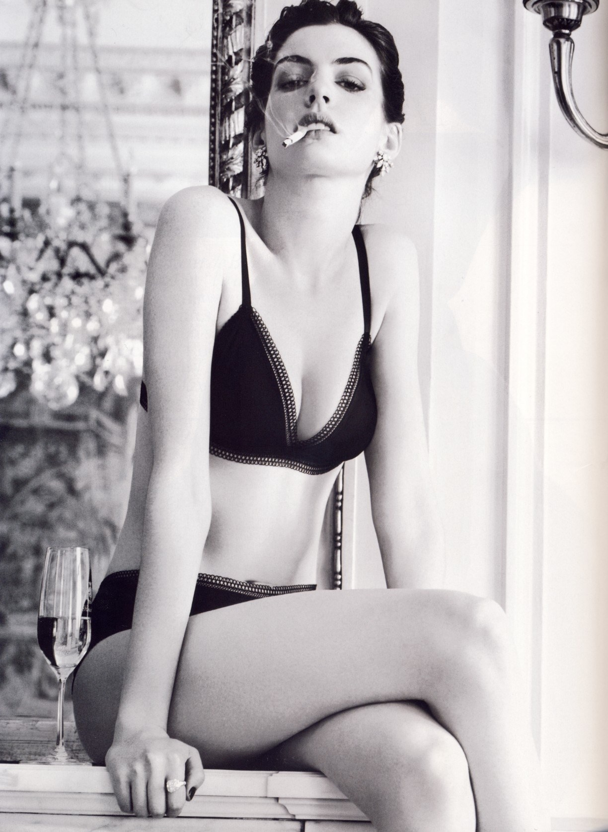 Anne Hathaway Sexy Cleavage Photos in Lingerie   Glamourous Photoshoot Images