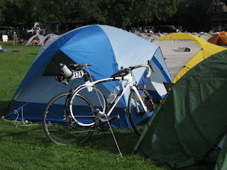 Roundtail bike parked next to a private tent, Beall Park, Bozeman, Montana