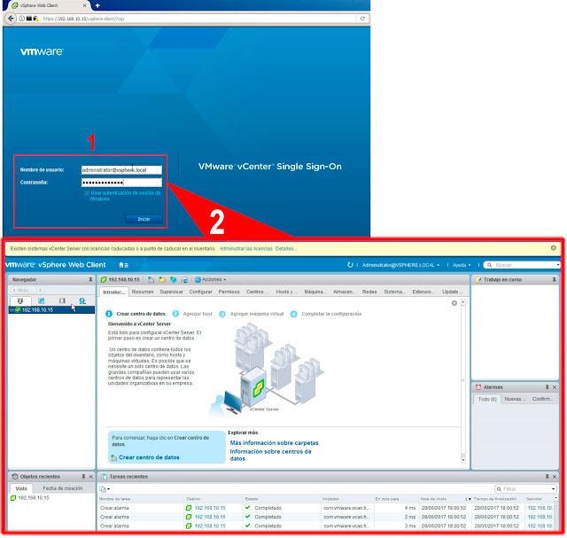 Introduciremos nuestras credenciales de SSO, ya podremos acceder a nuestro vSphere Client.