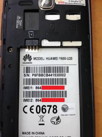 Nomor IMEI dibelakang baterai ponsel