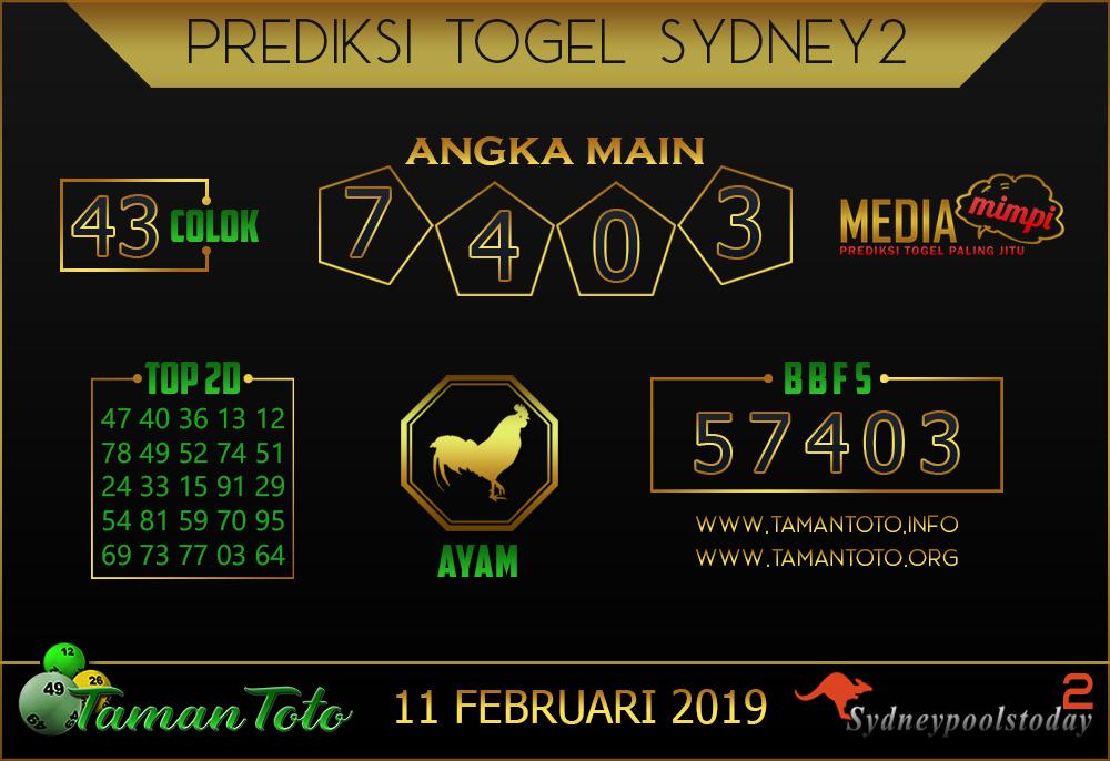 Prediksi Togel SYDNEY 2 TAMAN TOTO 11 FEBRUARI 2019