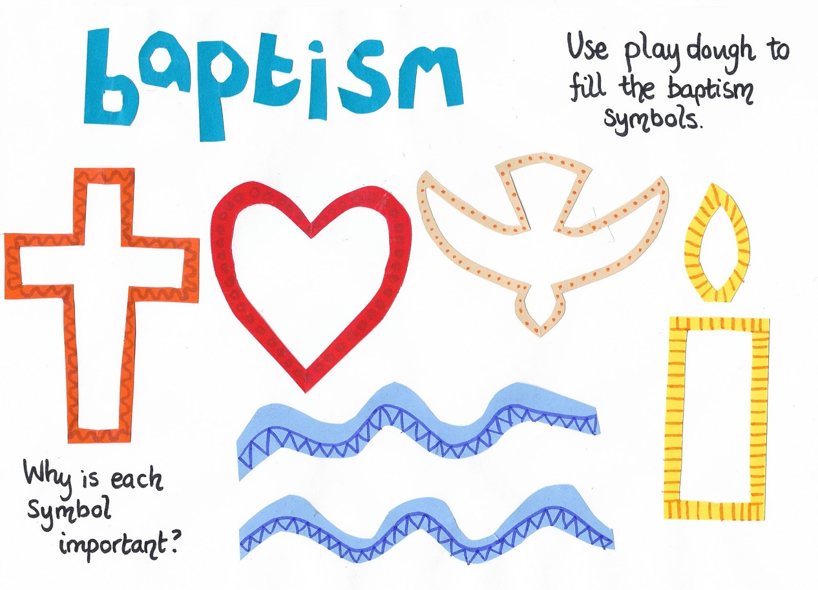 Flame Creative Childrens Ministry Baptism Symbols Play Dough Mat