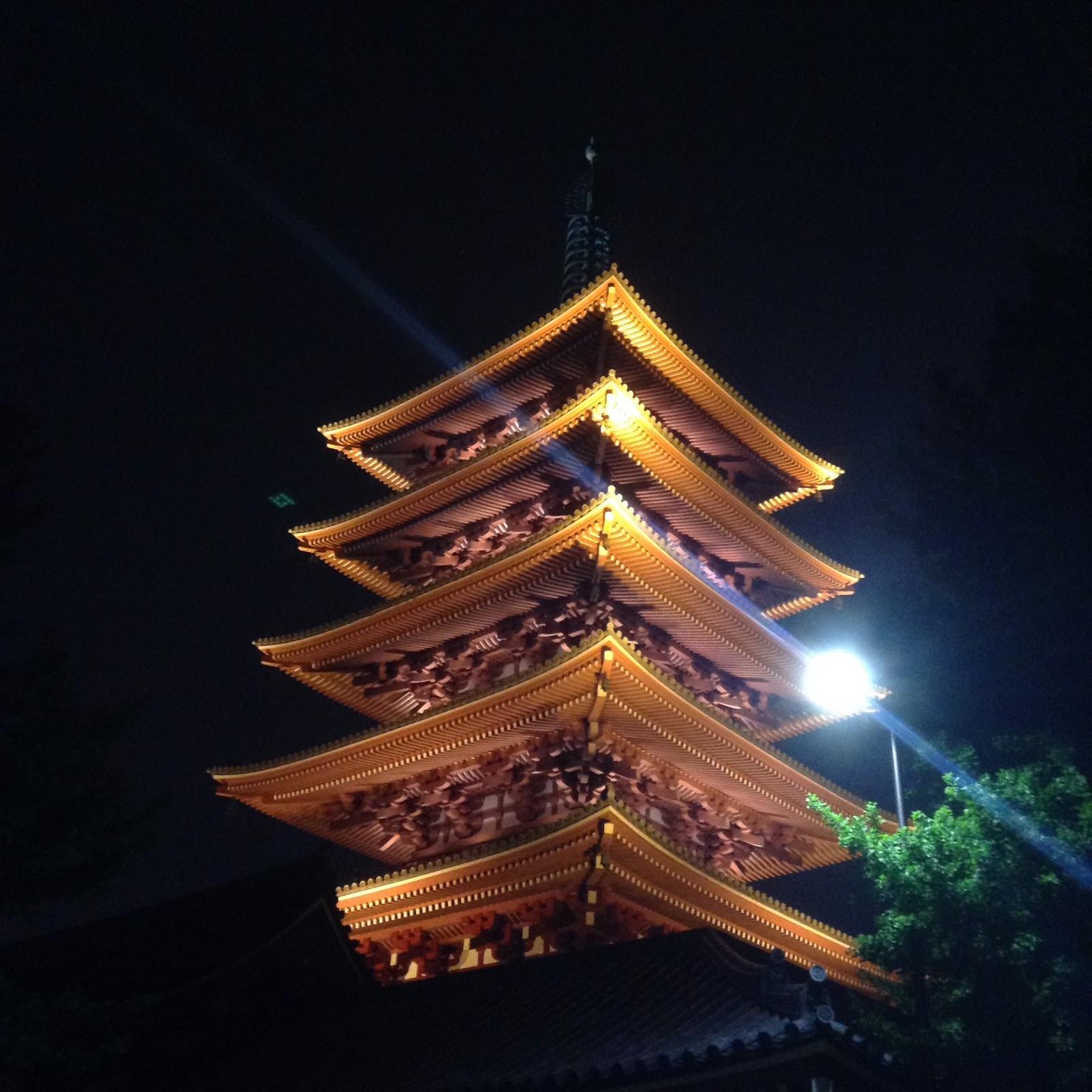 Sensouji pagoda at night