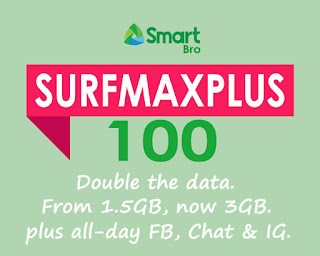 Smart Bro SurfMax Plus 100 now with 3GB of Data + All Day Facebook