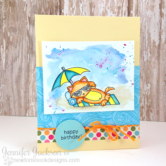 Birthday cat on Beach Card by Jennifer Jackson | Newton's Summer Vacation stamp set by Newton's Nook Designs