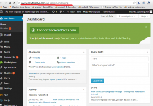 website or blog Dashboard - wordpress hosting