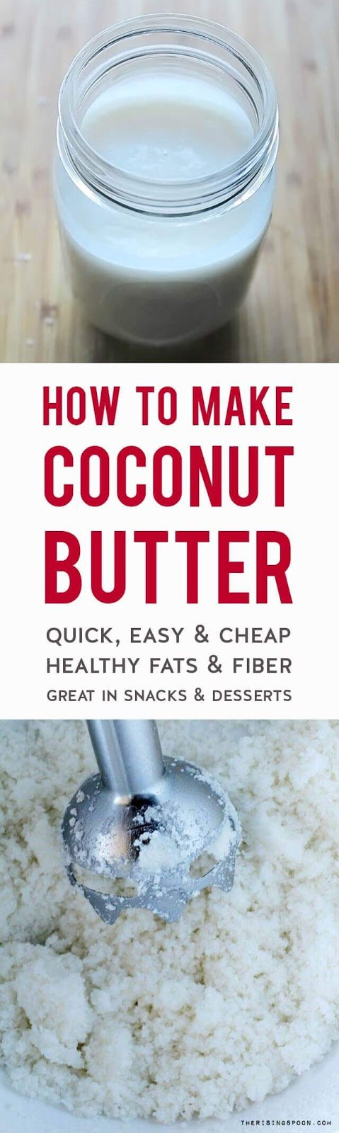 Learn how to make coconut butter at home in about 10-15 minutes with a bag of dried coconut flakes and an immersion blender + regular blender. This recipe is so cheap & easy! Use coconut butter (also called coconut manna) in place of peanut or almond butter in your favorite snacks and desserts for extra fiber and healthy fats.
