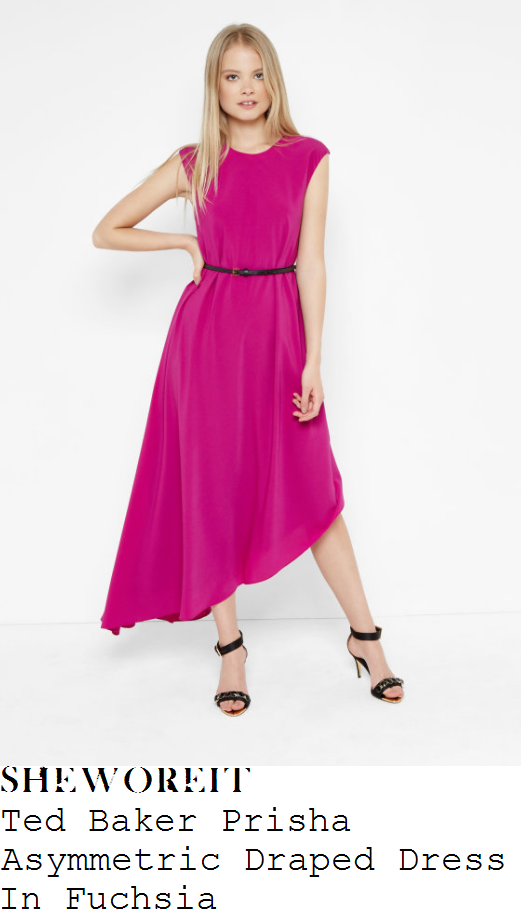 rebecca-adlington-ted-baker-prisha-bright-fuchsia-pink-and-black-cap-sleeve-contrast-waist-belt-detail-draped-asymmetric-midi-dress