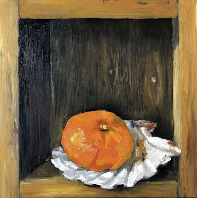 Trompe l'oeil with clementine, daily painting by Philine van der Vegte