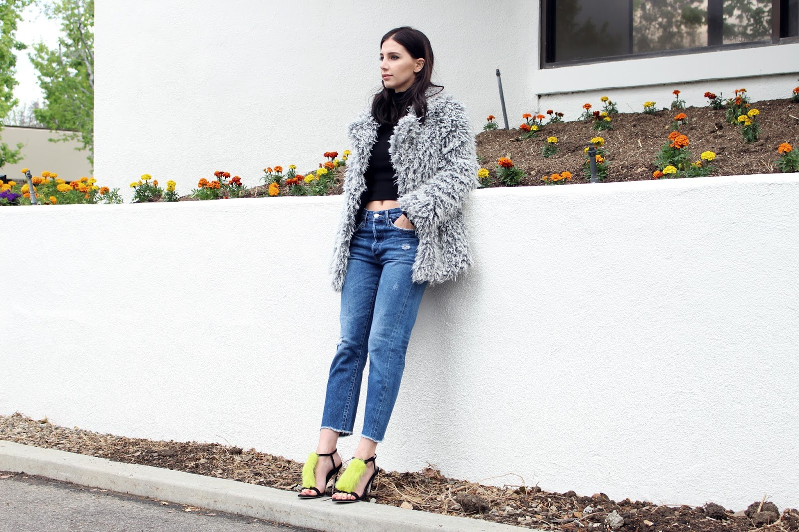 fur shoes, fur heels, vintage jeans, levis 501, faux fur jacket, fur coat, spring 2016, spring trends, street style, tourdestfu, turtleneck, layered outfit