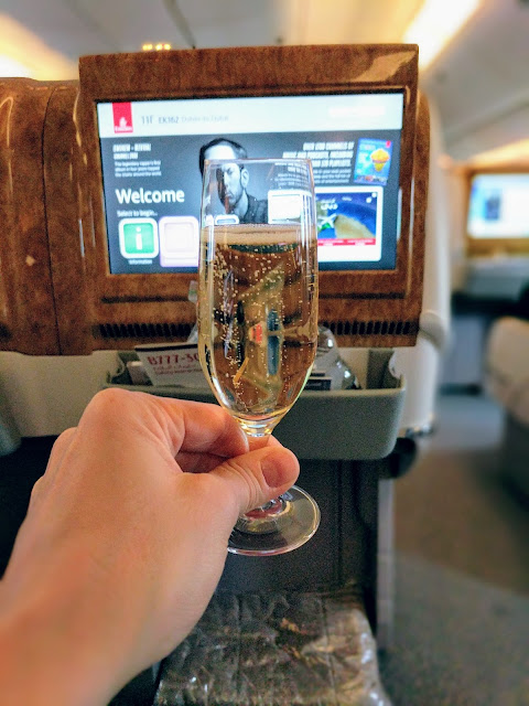 Veuve Clicquot Champagne aboard Emirates 777 Business Class service