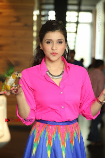 Actress Mannar Chopra in Pink Top and Blue Skirt at Rogue movie Interview  0056.JPG