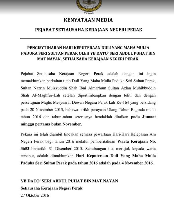 Inilah ALASAN SEBENAR Tarikh Keputeraan Sultan Perak Berubah Setiap Tahun Pasti Ramai Yang Tidak Tahu!!