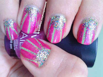 Green and Pink Half moon striping tape nail art