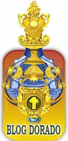 Premio Blog Dorado. Trofeo dorado y azul con un número 1.